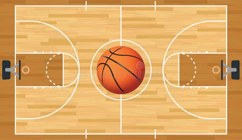 Realistische Vectorbasketbalhof en Bal vector illustratie