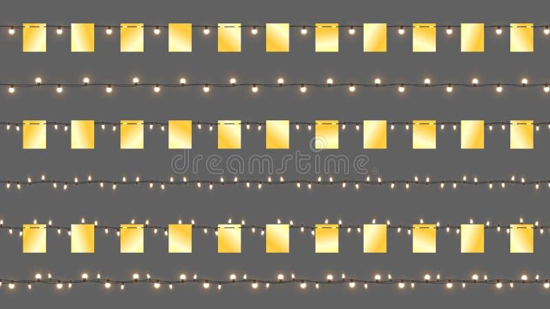 Realistische Vectorcristmas-Slingers Geïsoleerde Slingers met Gouden Vlaggen en Glanzende Lampen Vectormalplaatje met Licht vector illustratie