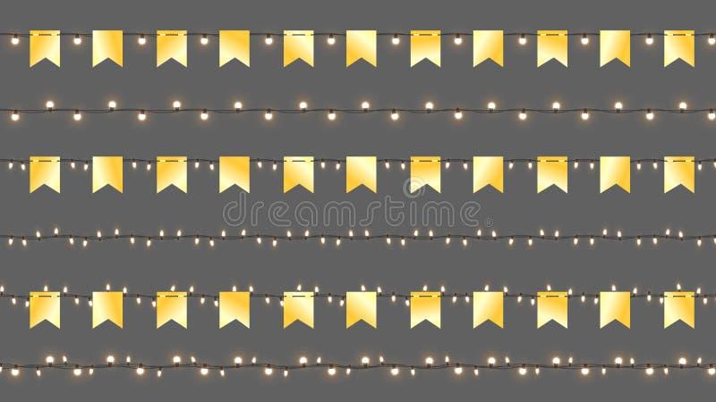 Realistische Vectorcristmas-Slingers Geïsoleerde Slingers met Gouden Vlaggen en Glanzende Lampen Vectormalplaatje met Licht stock illustratie