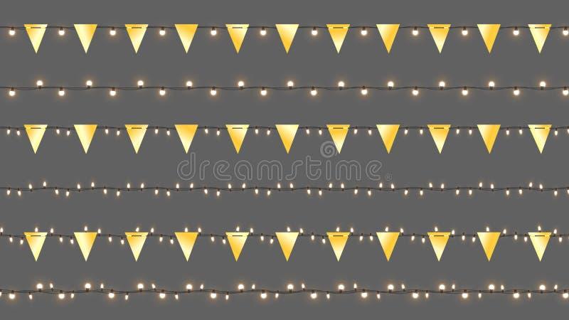 Realistische Vectorcristmas-Slingers Geïsoleerde Slingers met Gouden Vlaggen en Glanzende Lampen Vectormalplaatje met Licht royalty-vrije illustratie