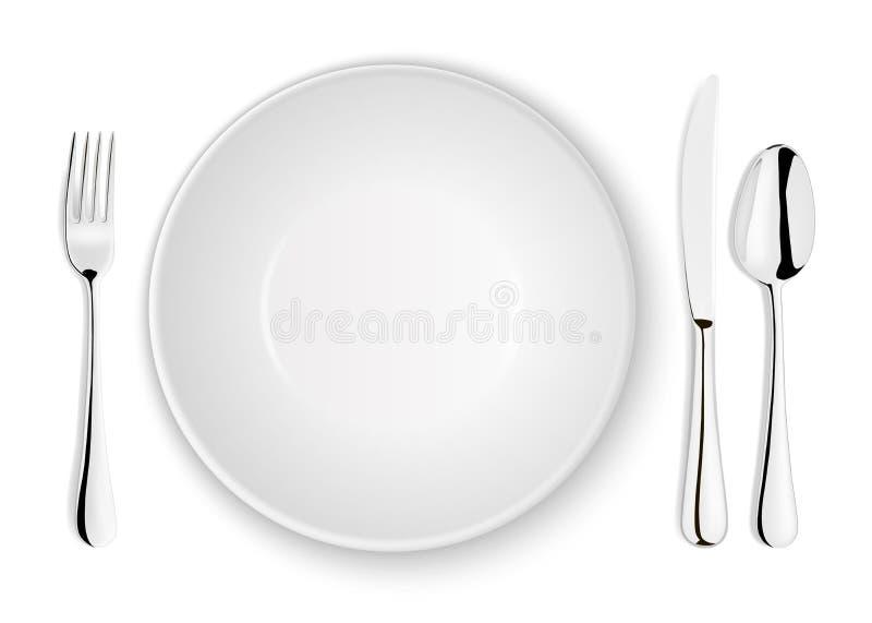 Realistische vectordielepel, vork, messen en schotelplaatclose-up op witte achtergrond wordt geïsoleerd Ontwerpmalplaatje of spot stock illustratie
