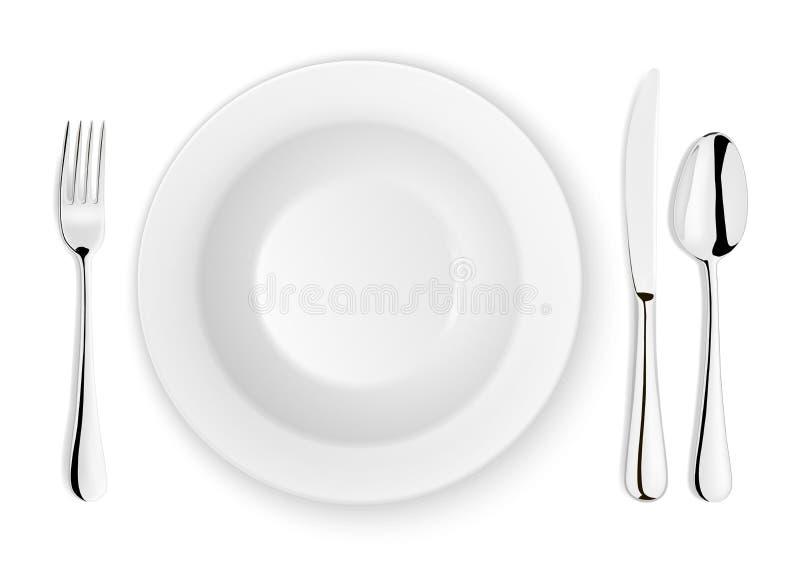 Realistische vectordielepel, vork, messen en schotelplaatclose-up op witte achtergrond wordt geïsoleerd Ontwerpmalplaatje of spot royalty-vrije illustratie