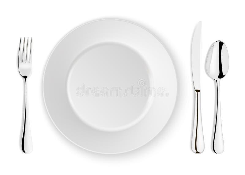 Realistische vectordielepel, vork, messen en schotelplaatclose-up op witte achtergrond wordt geïsoleerd Ontwerpmalplaatje of spot vector illustratie