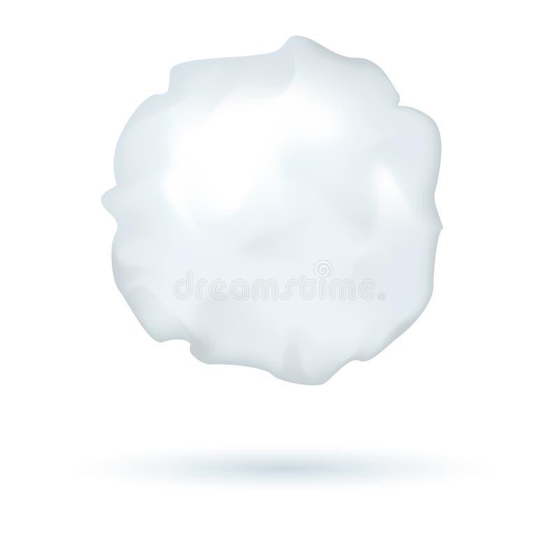 Realistische vectordiesneeuwbal, de wintersymbool, ijsbal voor het spelen, schaduw, op witte achtergrond wordt geïsoleerd vector illustratie