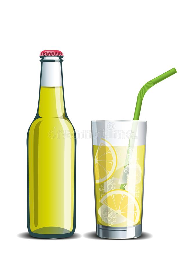 Realistische vectorfles limonade en een drank in een glas stock illustratie