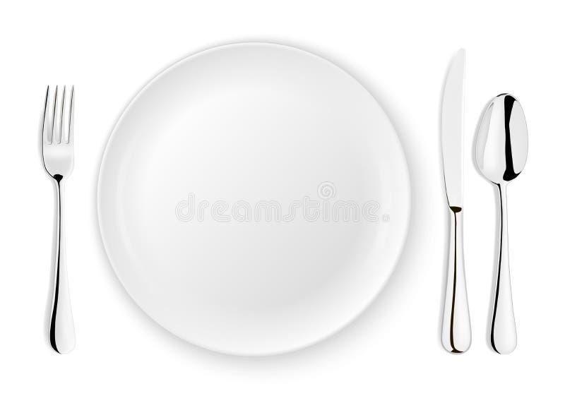 Realistische vectorlepel, vork, messen en schotelplaatclose-up op witte achtergrond Ontwerpmalplaatje of spot omhoog bovenkant royalty-vrije illustratie