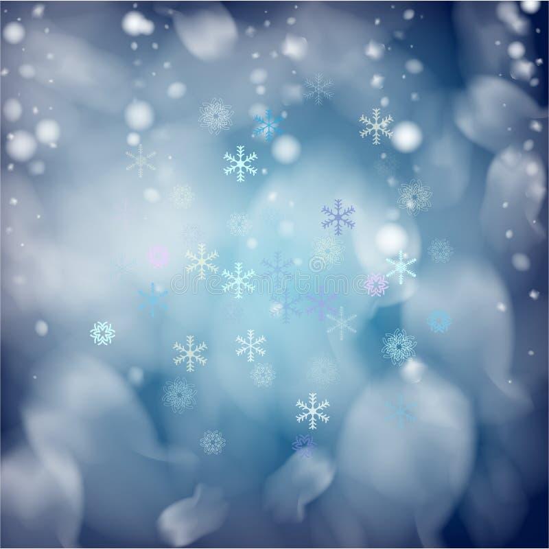 Realistische Vectorsneeuwval Kerstmis, de Nieuwe achtergrond van de jaarvakantie Dalende Sneeuwvlokkenbekleding Onweershemel, Vor stock illustratie