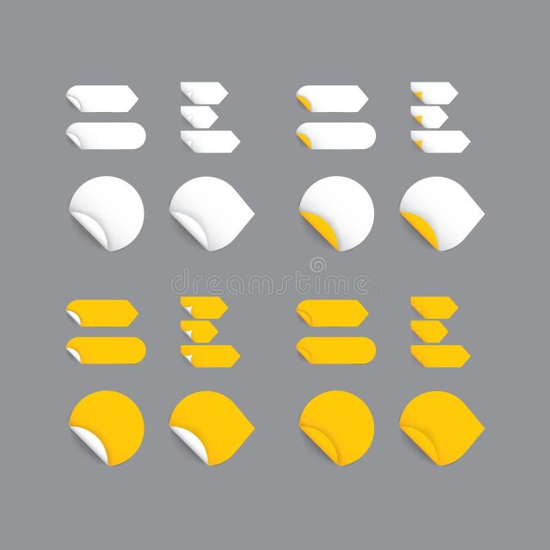 Realistische vectorstickers - gele inzameling. Modern ontwerp, bl stock illustratie