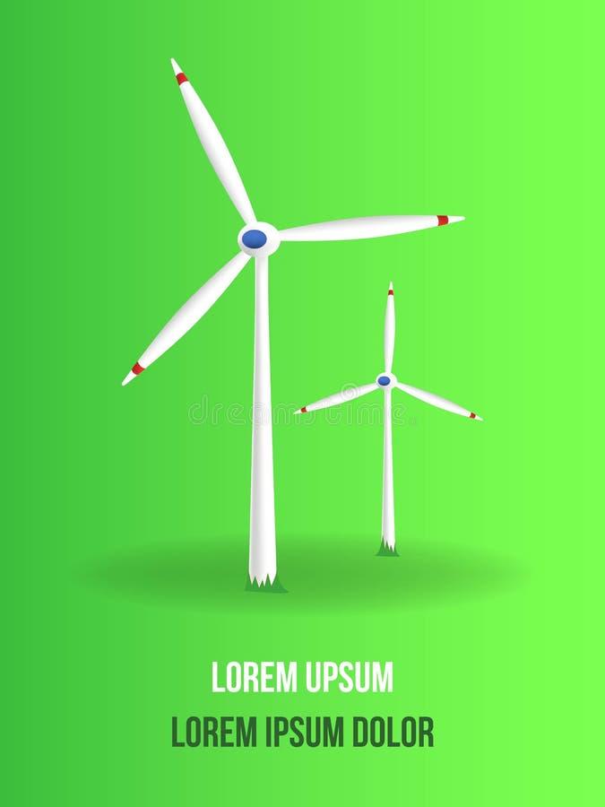 Realistische vektorabbildung Alternative Energiequellen Gr?ne Energie windm?hlen stock abbildung