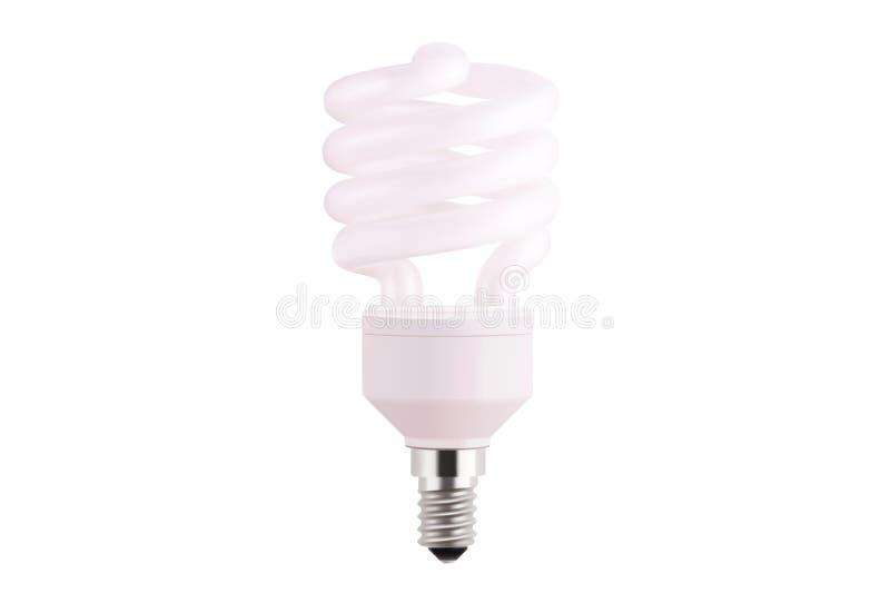 Realistische Vektorillustration der Glühlampe lokalisiert auf weißem Hintergrund Leuchtstoff energiesparende Glühlampe in der Art vektor abbildung