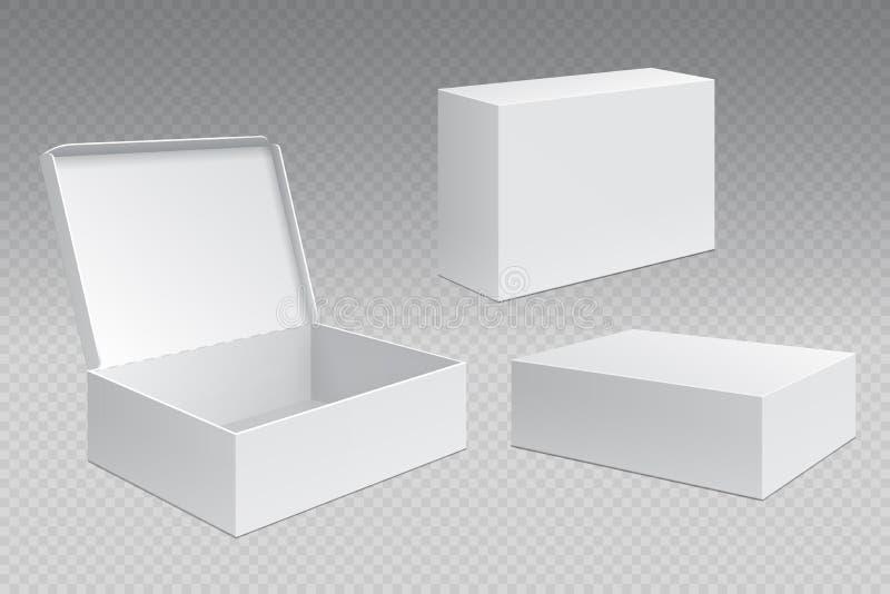 Realistische verpakkende dozen Het witte open kartonpak, lege het verhandelen producten bespot omhoog Karton vierkante container stock illustratie