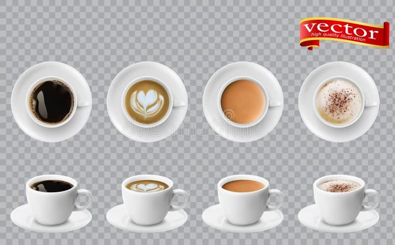 realistische verschiedene Kaffees 3d in der weißen Schalenansicht von der Spitze und von der Seite Cappuccino Latte americano Esp vektor abbildung