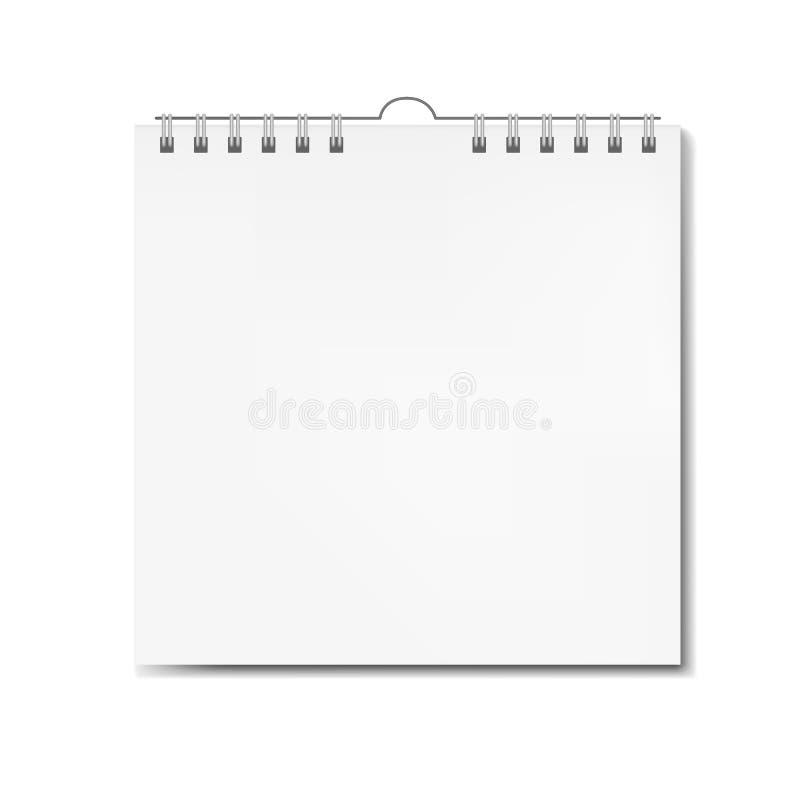 Realistische vierkante kalender op spiraalvormig model stock foto