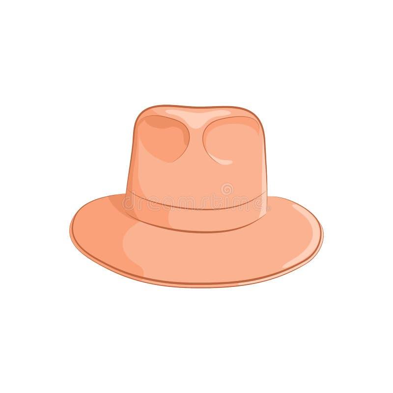 Realistische vilten hoed voor mannen of vrouwen Elegante toebehoren Het oranje die voorwerp op witte achtergrond wordt geïsoleerd vector illustratie