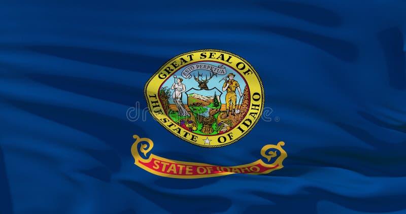 Realistische vlag van Staat van Idaho op de golvende oppervlakte van stof Perfecte 3d illustratie voor achtergrond of textuurdoel royalty-vrije illustratie