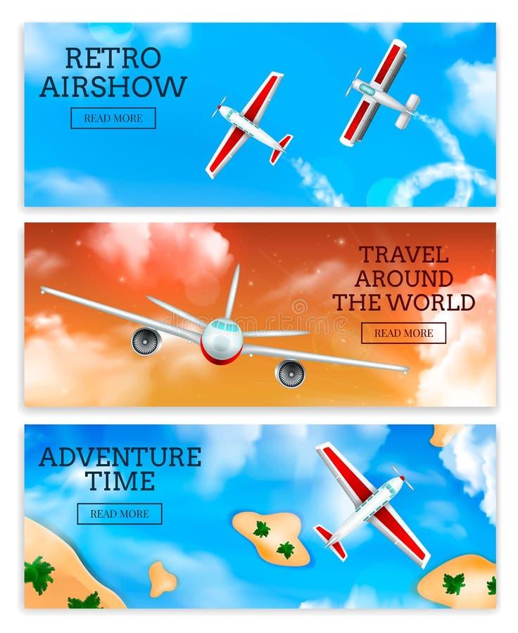 Realistische vliegtuigenbanners vector illustratie