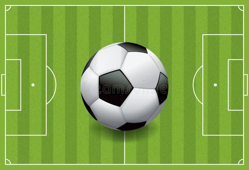 Realistische Voetbal - Voetbalbal op Geweven Gebied royalty-vrije illustratie