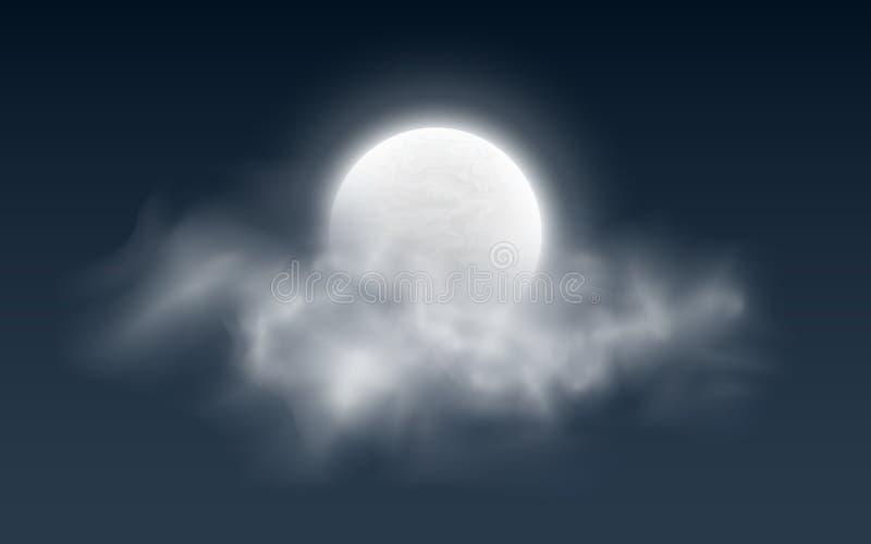 Realistische volle maan met wolken op een donkere achtergrond Witte mist Donkere nachthemel Gloeiende melkachtige maan Vector ill stock illustratie