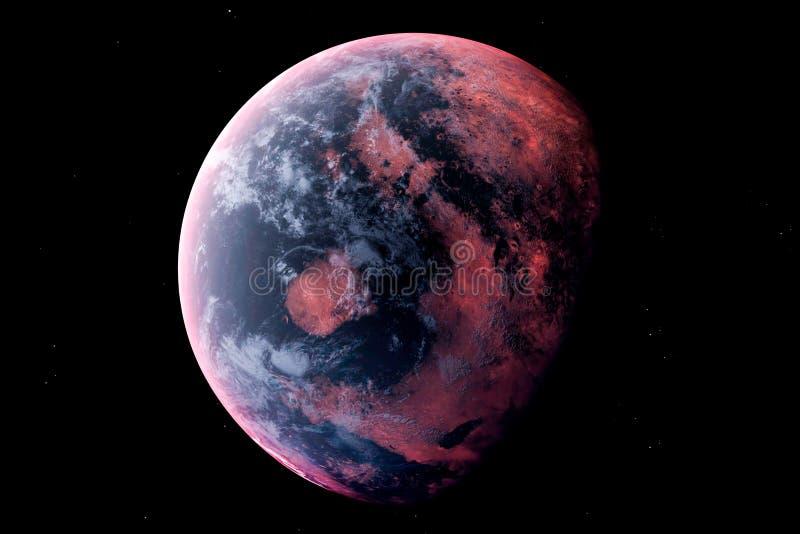 Realistische Vreemde Planeet in de kosmische ruimte, het 3d teruggeven stock illustratie