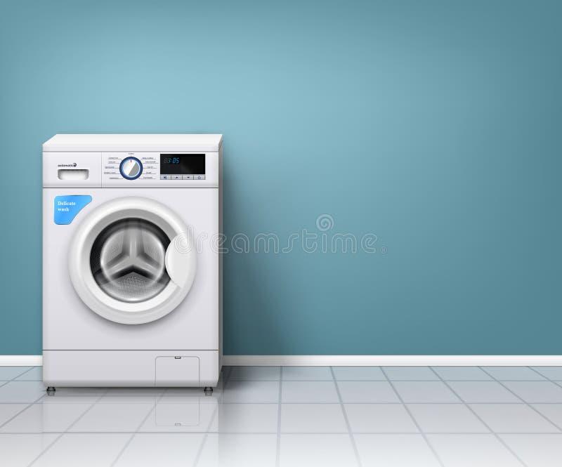 Realistische Wasmachineachtergrond vector illustratie