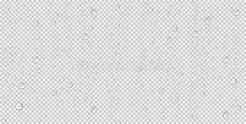Realistische waterdalingen, stoombellen of condensatie Regendruppels op transparante achtergrond vector illustratie