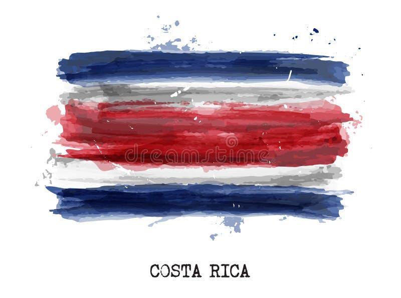 Realistische waterverf het schilderen vlag van Costa Rica Vector vector illustratie