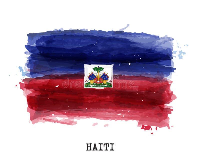 Realistische waterverf het schilderen vlag van Haïti Vector stock illustratie