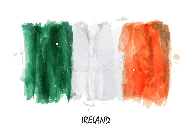 Realistische waterverf het schilderen vlag van Ierland Vector royalty-vrije illustratie