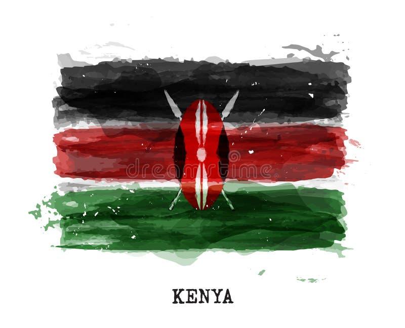 Realistische waterverf het schilderen vlag van Kenia Vector stock illustratie