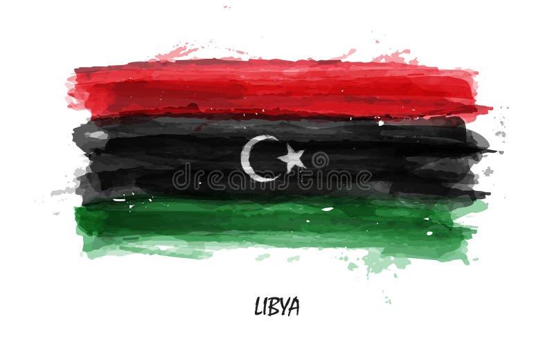 Realistische waterverf het schilderen vlag van Libië Vector stock illustratie