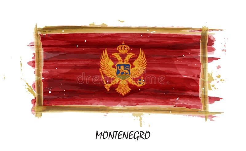 Realistische waterverf het schilderen vlag van Montenegro Vector stock illustratie