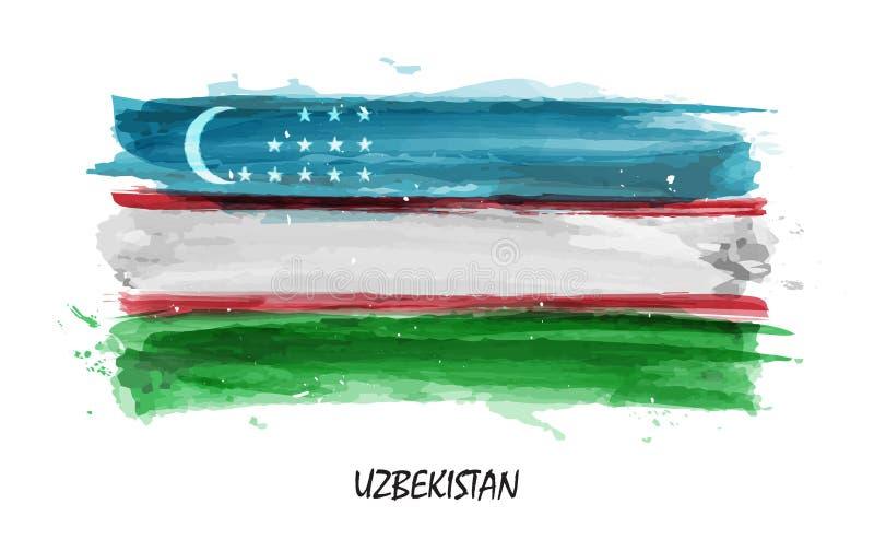 Realistische waterverf het schilderen vlag van Oezbekistan Vector vector illustratie