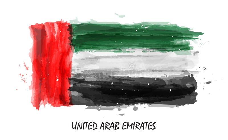 Realistische waterverf het schilderen vlag van Verenigde Arabische emiraten de V.A.E Vector vector illustratie
