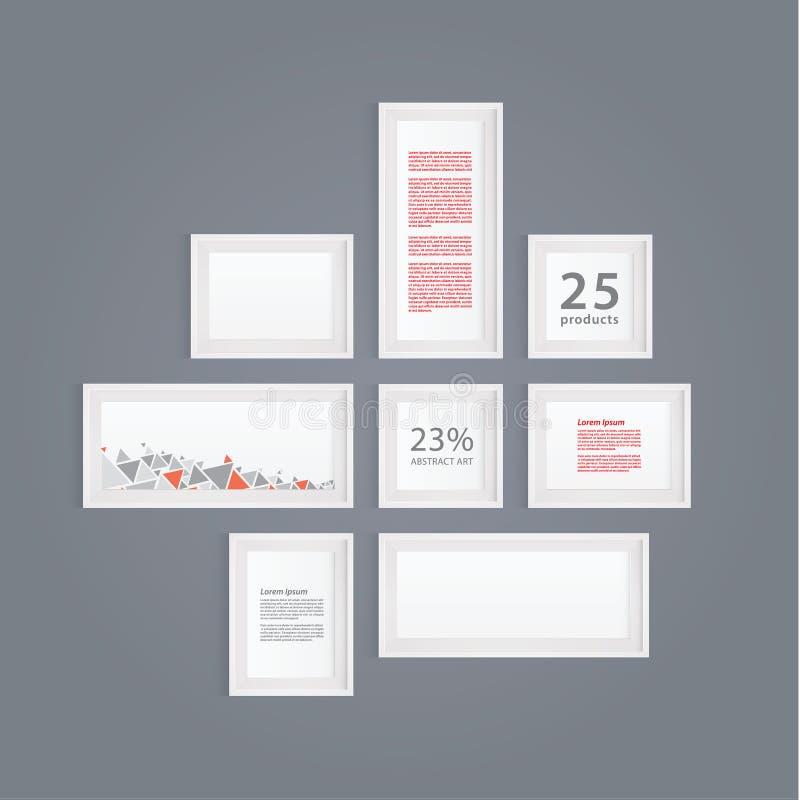 Realistische weiße Bilderrahmen des Vektors. Schablone des modernen Designs. F vektor abbildung