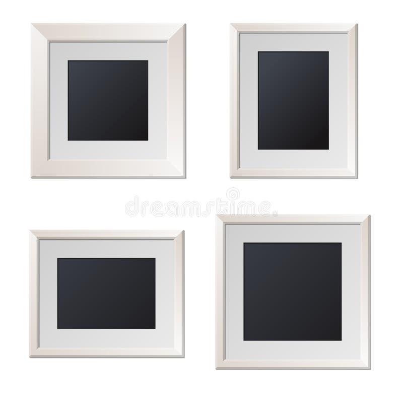 Realistische weiße Bilderrahmen mit leerer Mitte vektor abbildung