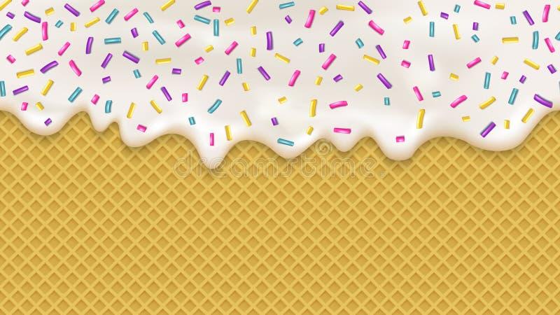 Realistische weiße Creme und Oblate für Tapetenentwurf Blauer Ton stock abbildung