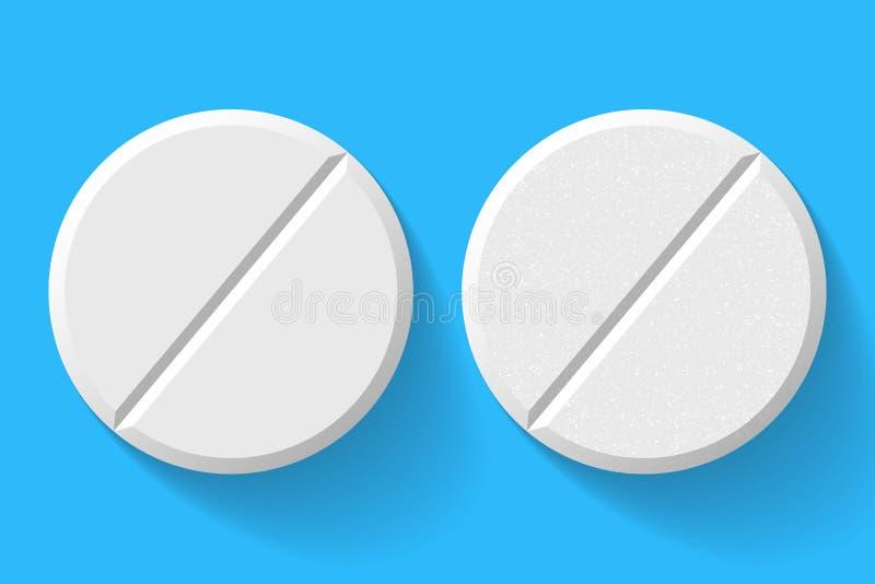 Realistische weiße Pillen und Tablets lokalisiert auf Hintergrund lizenzfreie abbildung