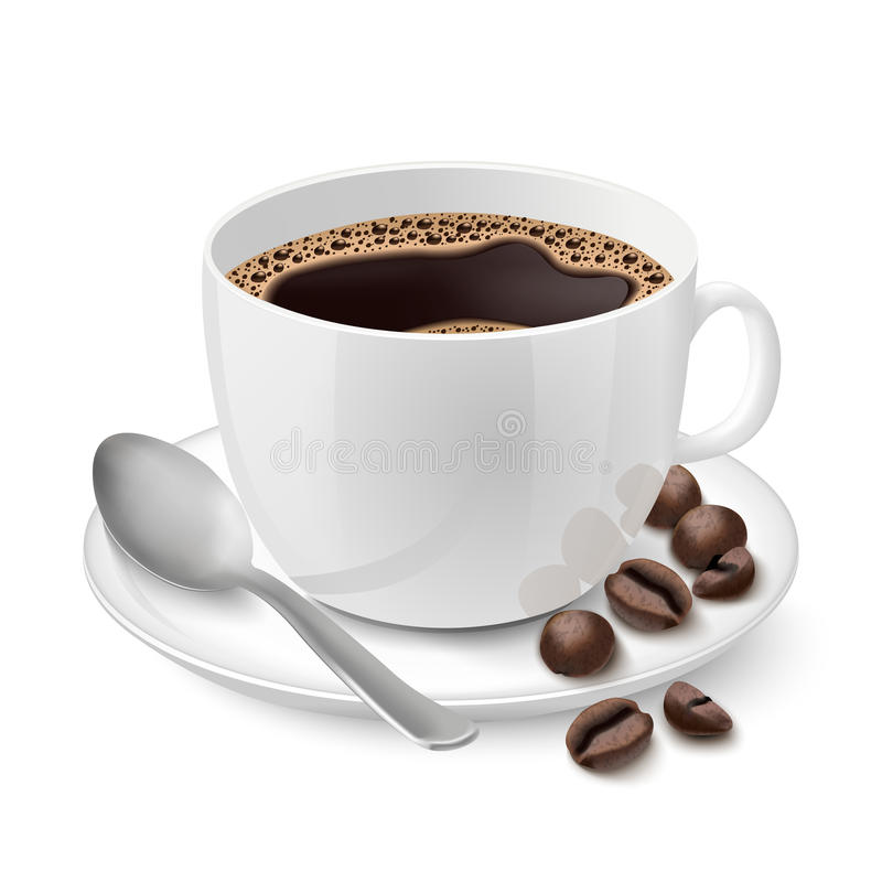 Realistische weiße Schale gefüllt mit Espresso stock abbildung