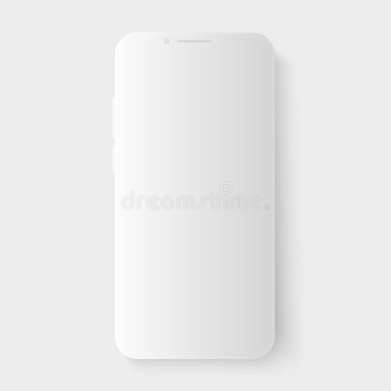 realistische weiße Vektor 3d Smartphoneschablone mit glattem Schatten Leerer leerer Bildschirm für die Einfügung irgendeines UI s stock abbildung