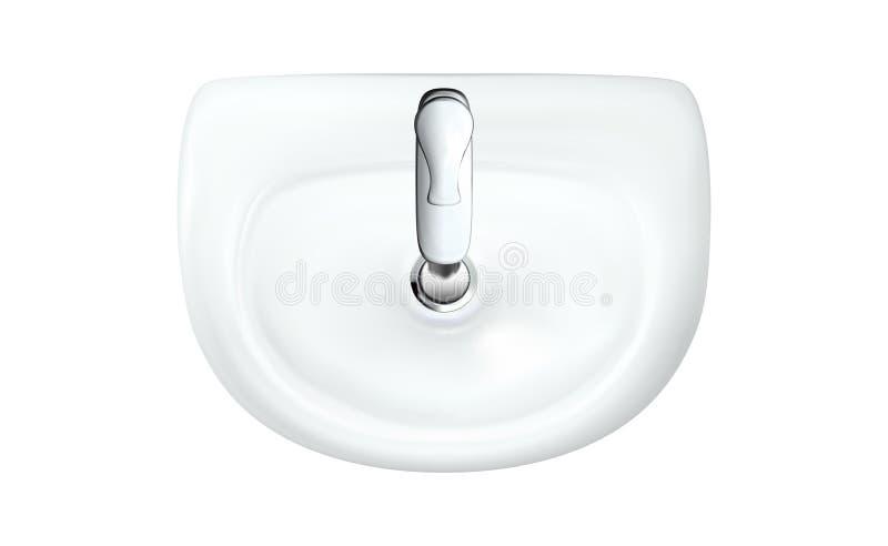 Realistische weiße Wanne mit Draufsicht des Chromhahns Badezimmer-Waschschüssel und Hahn Modernes Waschbecken lokalisierte Vekt stock abbildung
