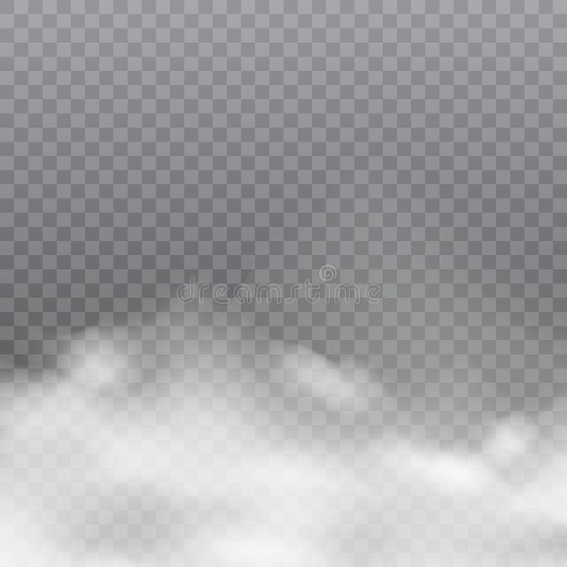 Realistische weiße Wolken oder Nebel auf transparentem Hintergrund Vektor vektor abbildung