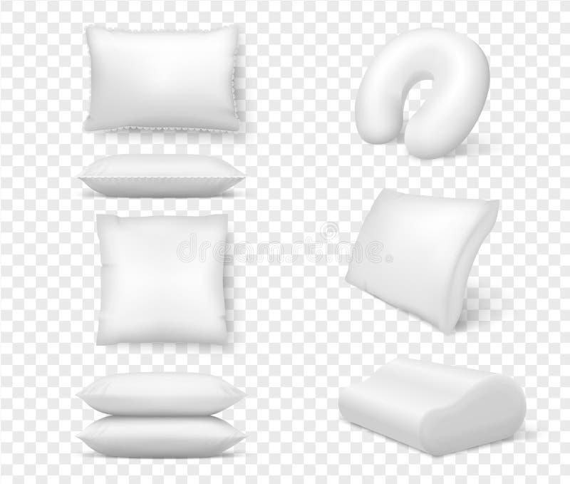 Realistische weiße Kissen Bequemes Kissenquadrat des Vektors 3d anatomisch Schablone, Schein oben vom weißen flaumigen Kissen für stock abbildung