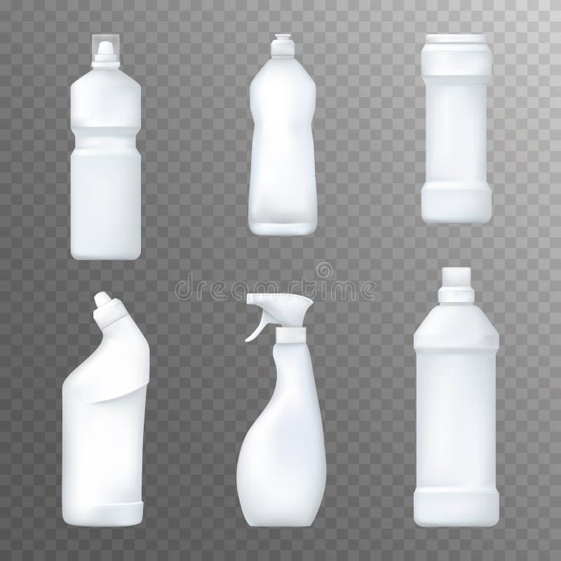 Realistische weiße plactic Flaschen Haushaltschemikalien und flüssiger reinigender Paketspott oben Vektor stock abbildung