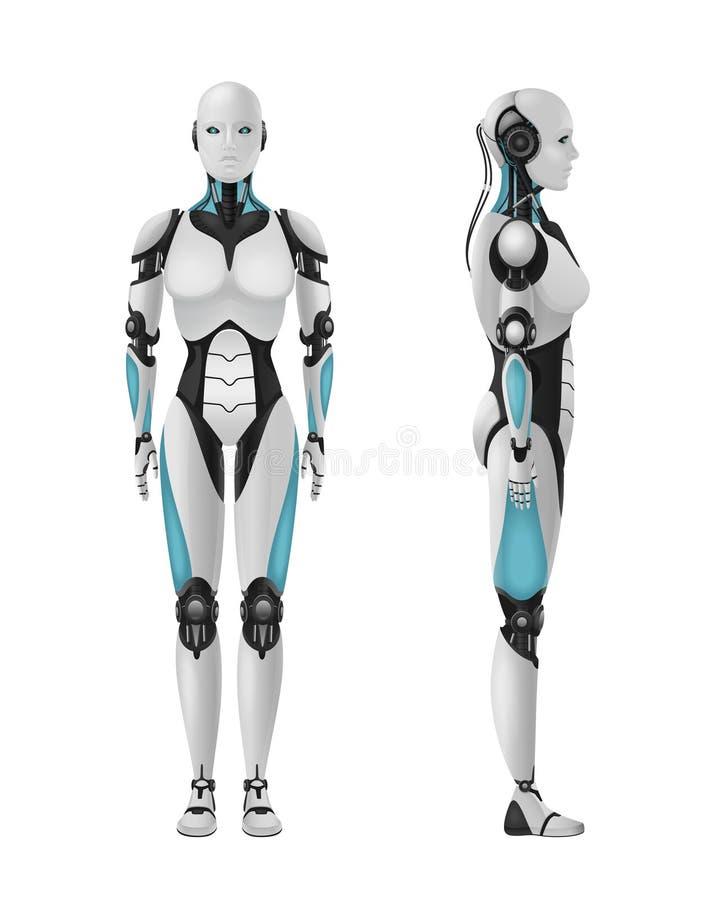 Realistische weibliche Droid-Zusammensetzung lizenzfreie abbildung