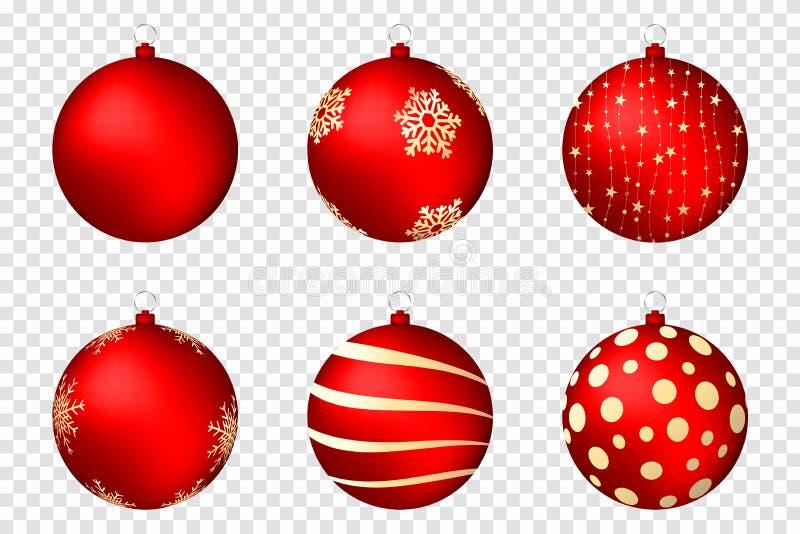 Realistische Weihnachtsbälle lokalisiert auf transparentem Hintergrund Glatte rote Weihnachtsbälle mit goldenen Mustern lizenzfreie abbildung