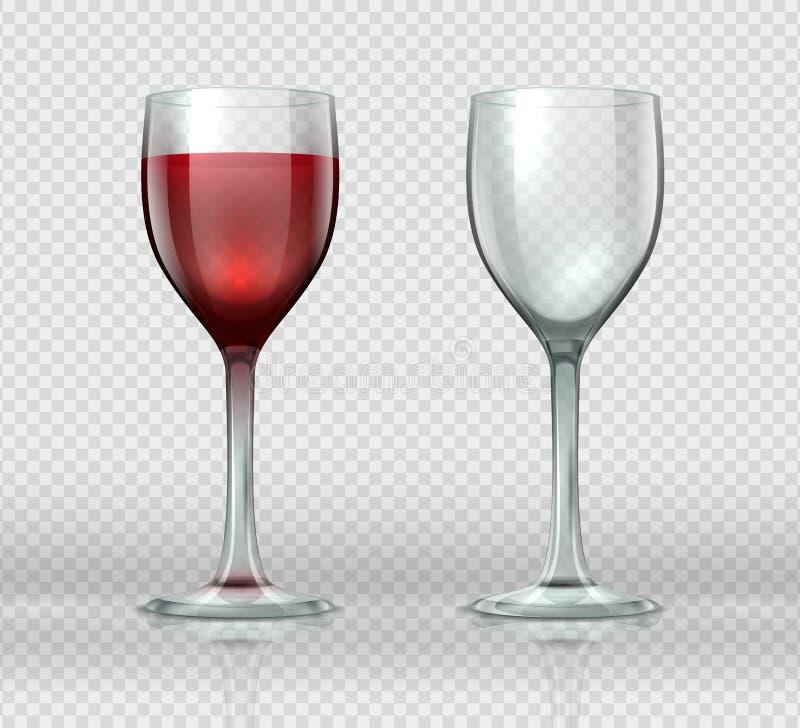 Realistische wijnglazen Transparant geïsoleerd wijnglas met rode wijn, 3D lege glaskop voor cocktails Vectorwijnmakerij vector illustratie