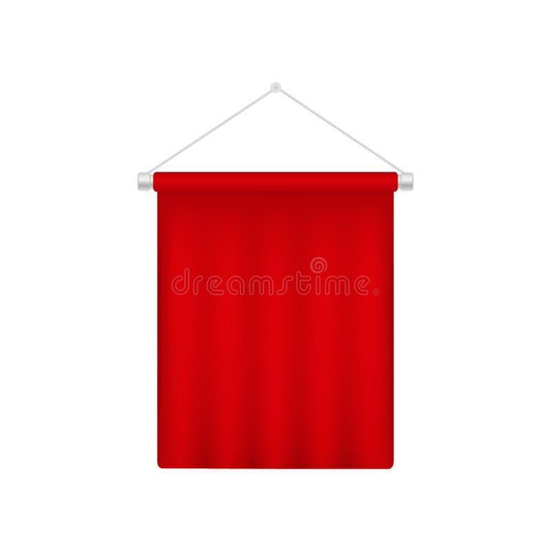Realistische Wimpel-Schablone Rote Flagge des freien Raumes 3D stock abbildung