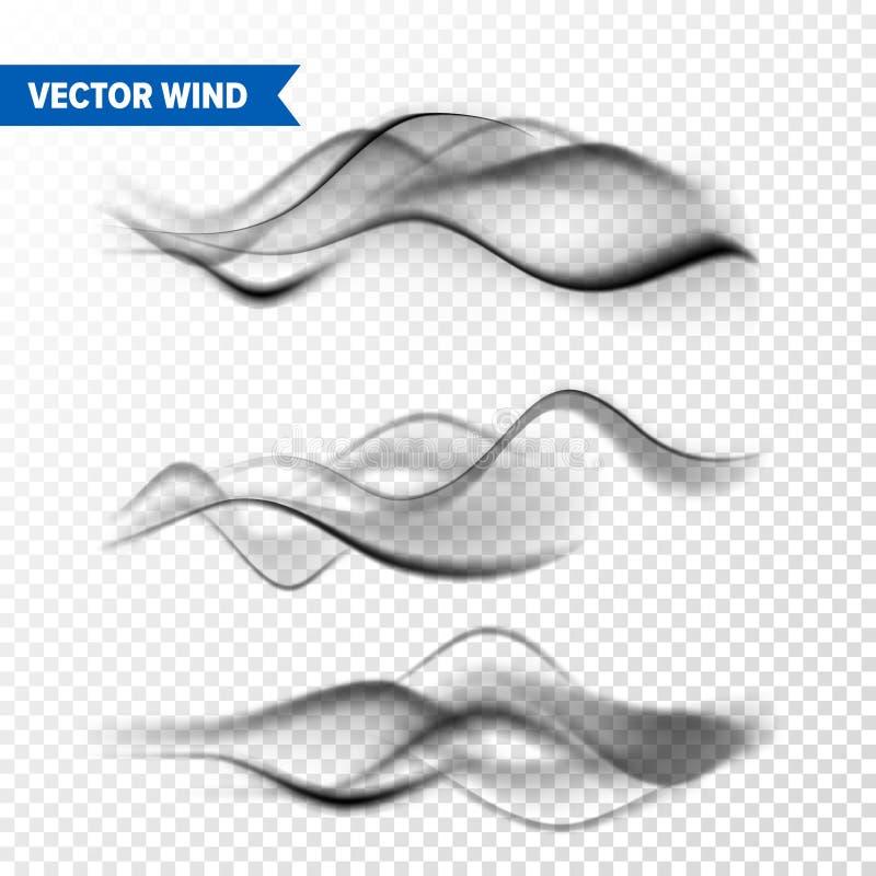 Realistische Wind die op Transparante Achtergrond wordt geplaatst Vectordamp in Lucht, de Stroom van de Rookstoom Mist, misteffec royalty-vrije illustratie