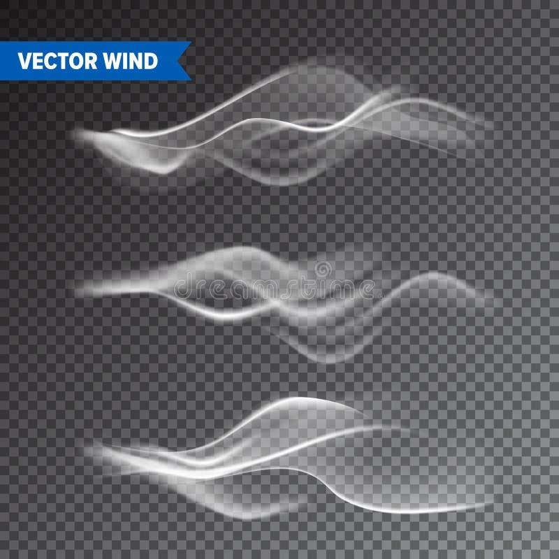 Realistische Wind die op Transparante Achtergrond wordt geplaatst Vectordamp in Lucht, de Stroom van de Rookstoom Mist, misteffec stock illustratie