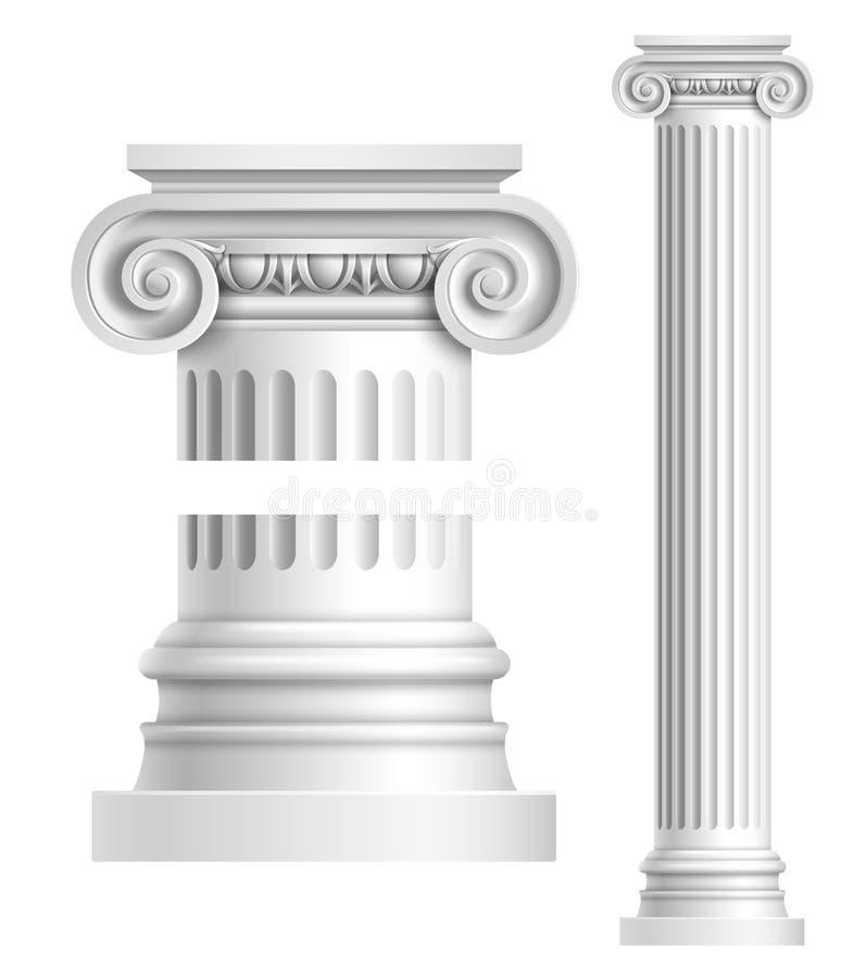 Realistische witte antieke kolom stock illustratie